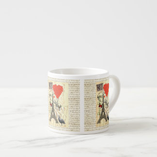 Vintage elephant and red heart balloons 6 oz ceramic espresso cup