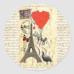 Vintage elephant and red heart balloons round sticker
