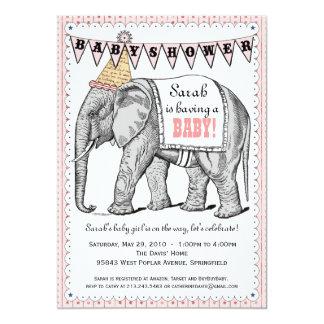 Vintage Elephant Circus Parade Baby Shower Invite