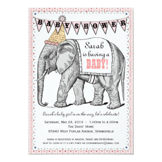 Vintage Elephant Circus Parade Baby Shower Invite