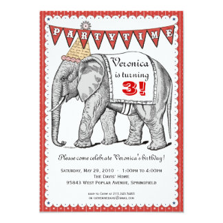Vintage Elephant Circus Parade Invitation - Red