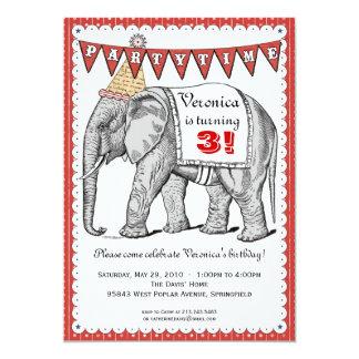 Vintage Elephant Circus Parade Invitation - Red