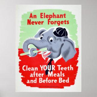 Vintage Elephant Dentist Brush your Teeth Poster