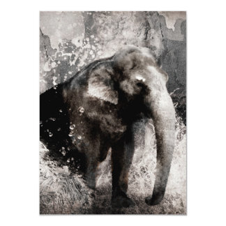 Vintage Elephant Drawing - Chinese Painting Art 4.5x6.25 Paper Invitation Card