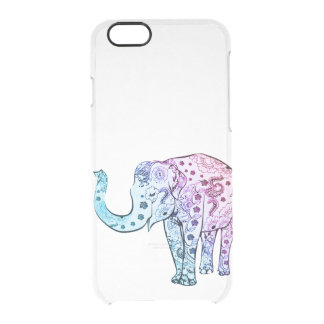 Vintage elephant drawing ombre trendy clear clear iPhone 6/6S case