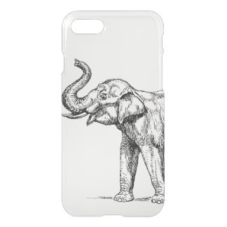 Vintage elephant drawing simple trendy clear iPhone 7 case