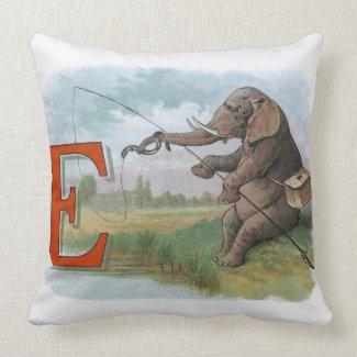 Vintage elephant fisherman fishing pillows
