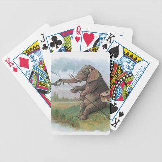Vintage elephant fisherman fishing bicycle poker cards