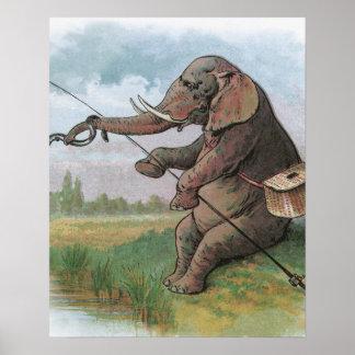 Vintage elephant fisherman fishing poster