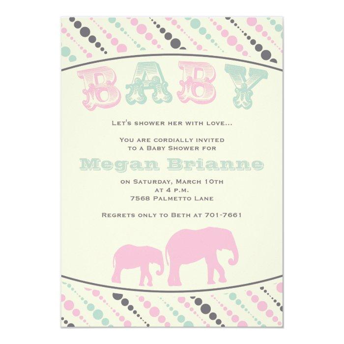 vintage elephant girl baby shower invitation zazzle