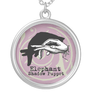 Vintage Elephant Hand Puppet Shadow Games Silver Plated Necklace