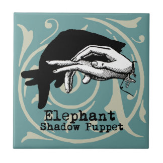 Vintage Elephant Hand Puppet Shadow Games Tile