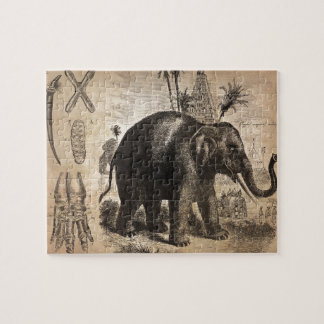 Vintage Elephant Mural Jigsaw Puzzle