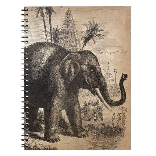 vintage elephant mural spiral notebook zazzle. Black Bedroom Furniture Sets. Home Design Ideas