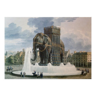 Vintage Elephant of The Bastille Illustration Poster