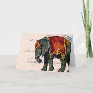 Vintage Elephant Postcard Digital Art, Birthday