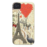 Vintage elephant & red heart balloons iPhone 4 Case-Mate cases
