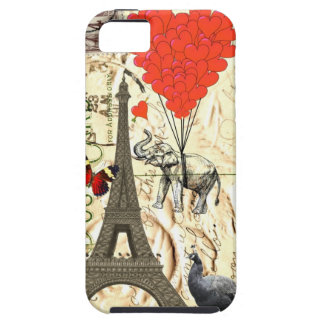 Vintage elephant red heart balloons iPhone 5 case