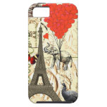 Vintage elephant & red heart balloons iPhone 5 case
