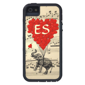 Vintage elephant & red heart balloons iPhone 5 covers