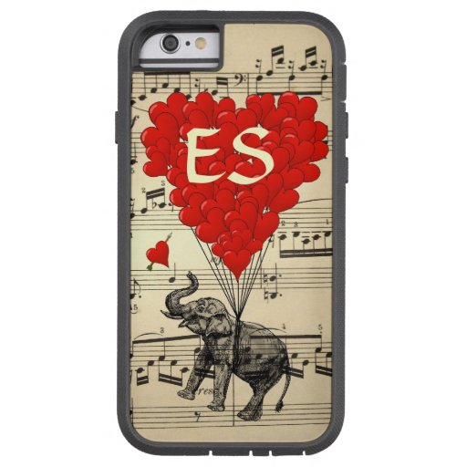 Vintage elephant & red heart balloons iPhone 6 case