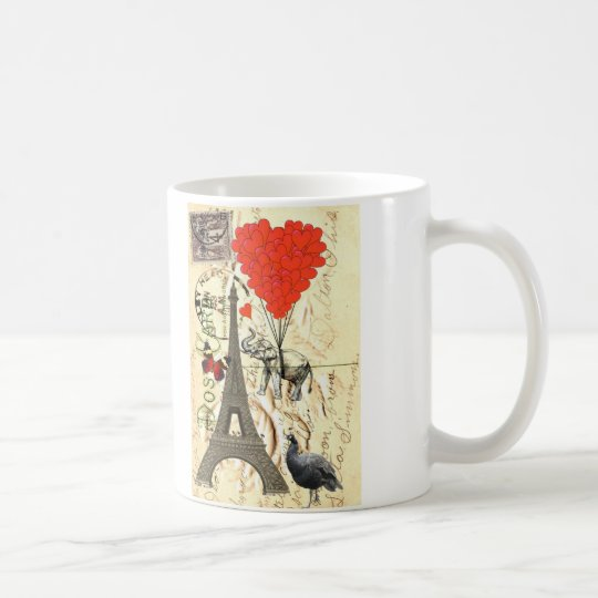 Vintage elephant & red heart balloons coffee mug