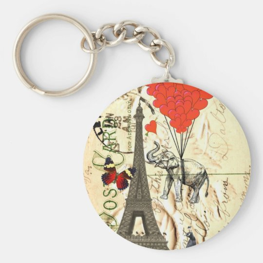 Vintage elephant & red heart balloons keychain