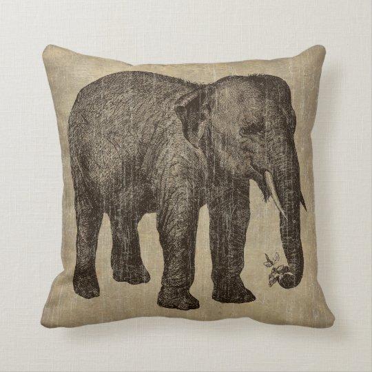 Vintage Elephant Throw Pillow