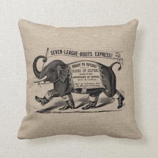 Vintage elephant Victorian ad burlap linen jute Pillow