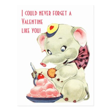 Beach Themed Vintage Elephant With Ice Cream Valentines Day Postcard