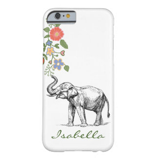 Vintage elephant your name text elephants floral barely there iPhone 6 case