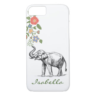 Vintage elephant your name text elephants floral iPhone 7 case