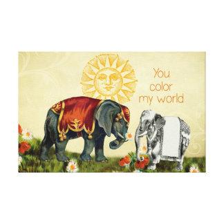 Vintage Elephants in Love Canvas Print