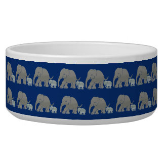 Vintage Elephants with Baby Parading on Night Blue Bowl