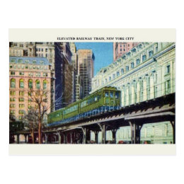 Vintage Elevated Train New York City Postcard