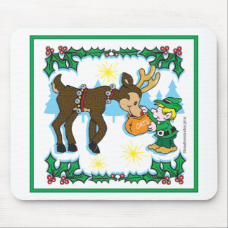 Vintage Elf and Reindeer Mouse Pad