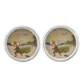 Vintage Elf Bringing Home the Christmas Tree Cufflinks