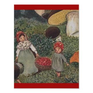 Vintage Elf Family Harvest 4.25x5.5 Paper Invitation Card