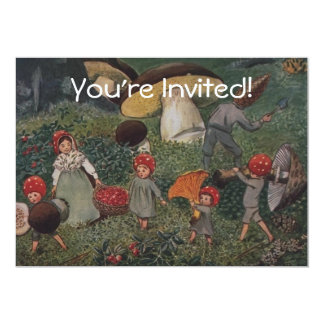 Vintage Elf Family Harvest 5x7 Paper Invitation Card