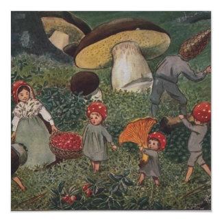 Vintage Elf Family Harvest Invitation