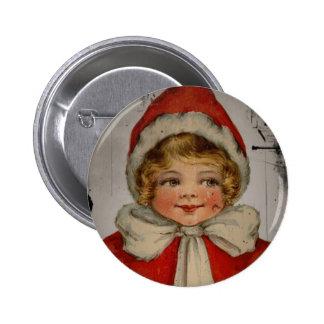 Vintage Elf Girl Christmas 2 Inch Round Button
