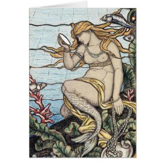 Vintage Elihu Vedder Mermaid Stained Glass Card