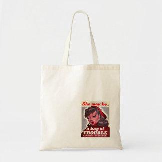 """Vintage """"ella puede ser un bolso del problema """" bolsa tela barata"""