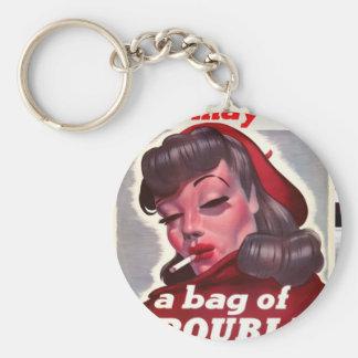 """Vintage """"ella puede ser un bolso del problema """" llavero redondo tipo pin"""