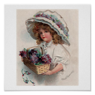 Vintage Ellen Clapsaddle Girl in Bonnet Poster