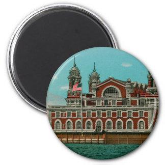 Vintage Ellis Island, New York City 2 Inch Round Magnet