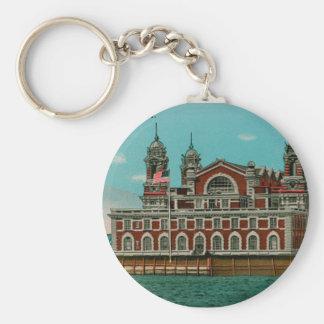 Vintage Ellis Island, New York City Basic Round Button Keychain