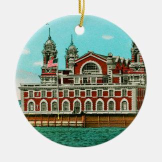 Vintage Ellis Island, New York City Ceramic Ornament