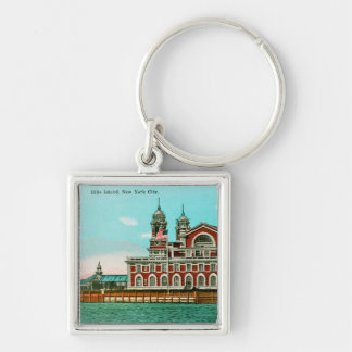 Vintage Ellis Island, New York City Silver-Colored Square Keychain