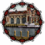 "Vintage Ellis Island Ornament<br><div class=""desc"">Vintage postcard image of Ellis Island in 1907 reprinted on this beautiful Christmas Ornament with Victorian filagree trim.</div>"